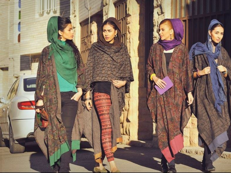 Young Iranian women taking a stroll